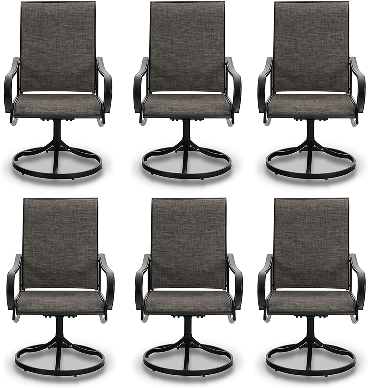 PHI VILLA Patio Swivel Dining Chairs Set of 6 Outdoor Kitchen Garden Metal Chair with Textilene Mesh Fabric, Patio Furniture Gentle Rocker Chair, Black Frame