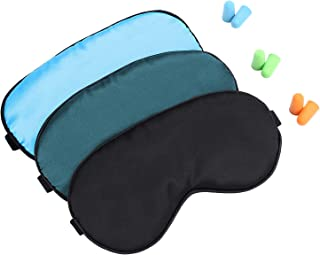 Silk Sleep-Mask Eye-Mask Eye-Cover Eyeshade - 100% Silk Soft Adjustable Strap Eye Cover(Black+Dark Green+Light Blue)