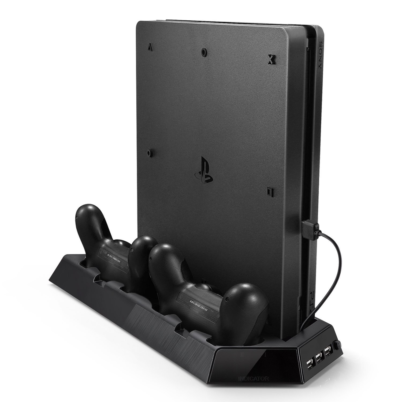 Soporte Vertical de PS4 Pro, Rixow Ventilación para Playstation 4 PRO con 2 Ventiladores y 3 USB, Color Negro ...