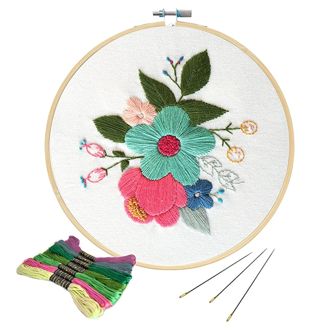 Unime Full Range of Embroidery Starter Kit with Partten, Cross Stitch Kit Including Embroidery Cloth with Color Pattern, Bamboo Embroidery Hoop, Color Threads, and Tools Kit (Flower)