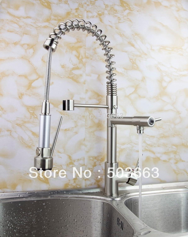 Maifeini  Moderne Küche Schwenkbare Waschbecken Wasserhahn Mischbatterie Wasserhahn Nickel Gebürstet Kran S-141 Mixer Hahn Tippen