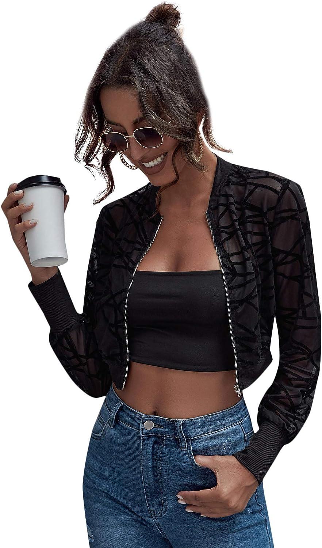 Floerns Women's Sheer Mesh Casual Long Sleeve Zip Up Thin Jacket