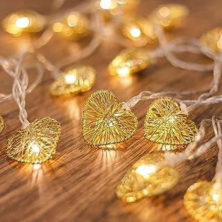 CozyHome Guirlande lumineuse LED en forme de cœur – 5 m alimentée par courant | 20 cœurs blanc chaud | LED cœur courant | ...