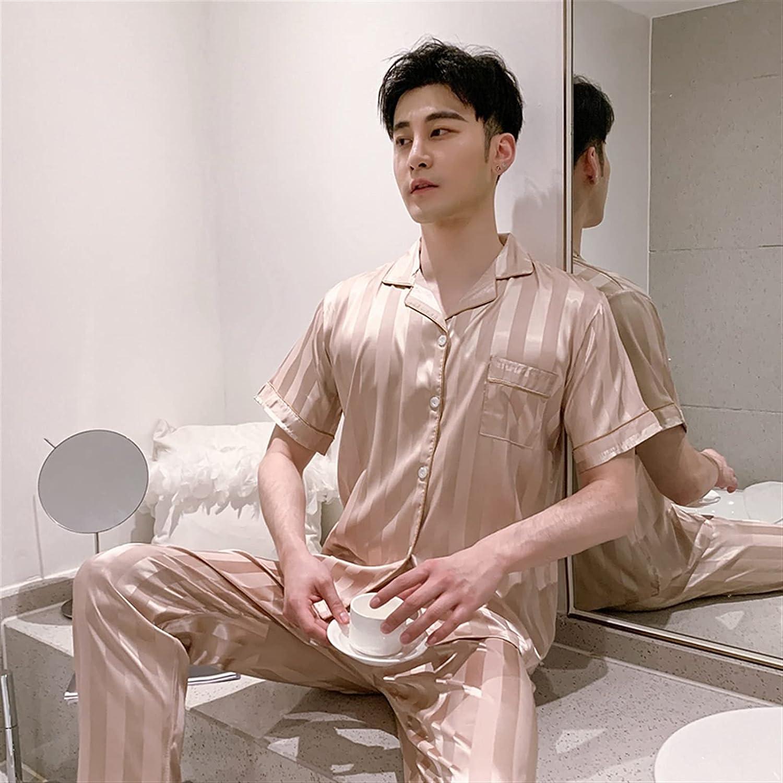 HONGJIU Silk Pajamas for Men,Couple Silk Satin Pajamas with Stripe Print Short Sleeve Trousers Summer Casual Home Wear (Color : 8-Men, Size : XX-Large)