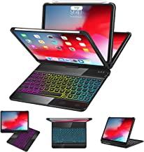 iPad Pro 11 Case with Keyboard 2018-360 Rotatable - Wireless/BT - Backlit 17 Color - Auto Sleep Wake - iPad Pro 11 Keyboard Case - Support Apple Pencil 2nd Gen Charging, Black