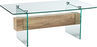 Christopher Knight Home Wilmington Tempered Glass and Wood Coffee Table, Color: Clear