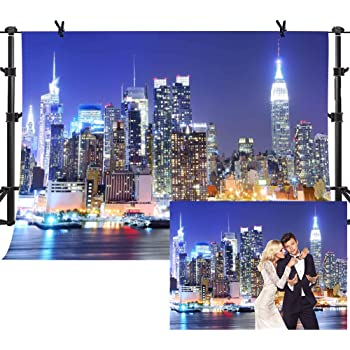 HD Backdrop 7x5ft Modern Urban City Fireworks Night View Seamless Vinyl Photo Studio Props Backdrop GYMM179