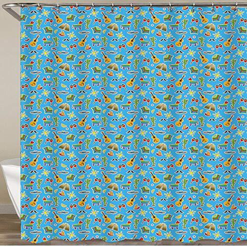 KGSPK Cortinas de Ducha,Patrón temático de la Cultura Tradicional de los Iconos Coloridos del país de México,Impermeable Cortinas Baño y Lavables Cortinas Bañera 180x180CM
