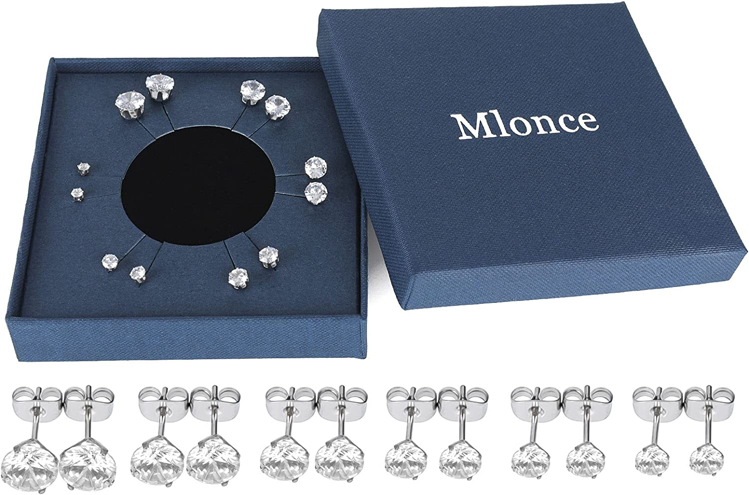 Mlonce Stainless Steel Stud Earrings Round Clear Cubic Zirconia Ear Studs for Women and Men Sensitive Ears Nickel Free CZ Stud Earrings Set Hypoallergenic, 6 Pairs 6-claw or 4-claw