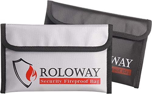 ROLOWAY Small Fireproof Bag (5 x 8 inches), Non-Itchy Fireproof Money Bag, Fireproof Wallet Bag, Cash Fireproof Bag S...