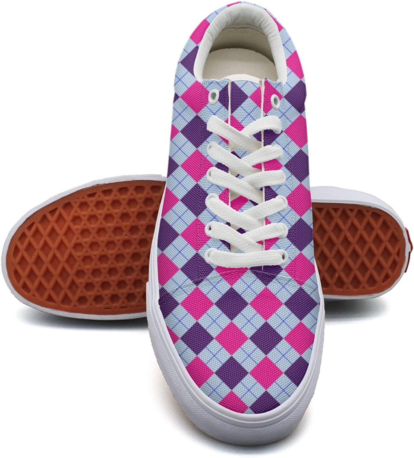 Charmarm Pink Purple Checkboard Womens Casual Low Top Canvas Slip-on shoes