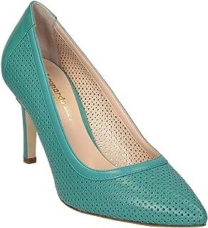 Leonardo Shoes Decoltè in Pelle Traforata Color Acqua Marina - Codice Modello: 54008 Nappa Acquamarina - Taglia: 40 EU