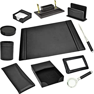 FIS 11 Pieces Executive Desk Set Italian PU, Black Color - FSDS182BK