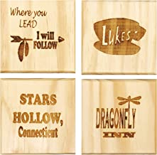 Gilmore Girls Inspired Coasters (ByBrindle Designs): Permanent Engraved Gift Set of 4 Coasters.Stars Hollow, Duke's, Where You Lead I Will Follow, Dragonfly Inn
