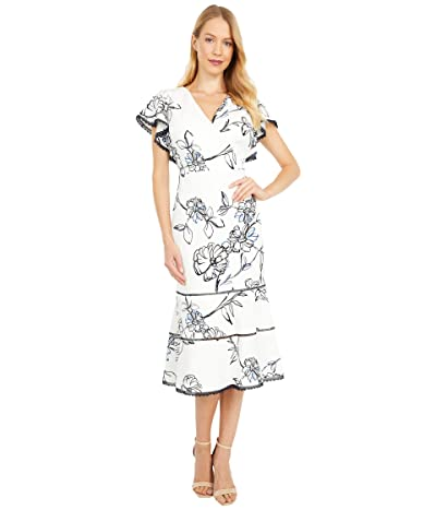 LAUREN Ralph Lauren Chazzy Cap Sleeve Day Dress (Colonial Cream/White/Multi) Women