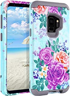 Galaxy S9 Case Samsung S9 Case SM-G960 GUAGUA Peony Flowers Floral Shockproof Protective 3 in 1 Hybrid Hard PC Soft Silicone Bumper Cover Full Body Scratch Resistant for Samsung Galaxy S9 Green