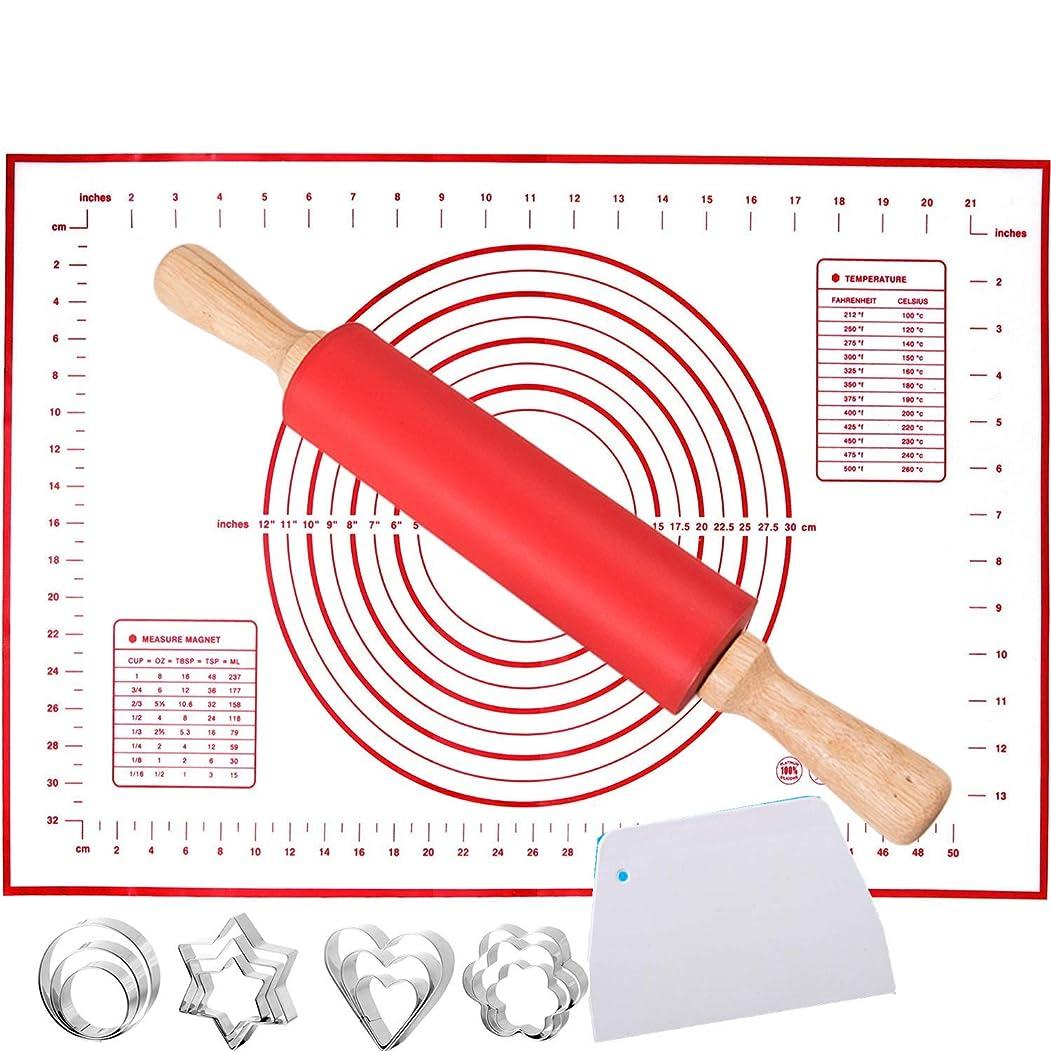提唱する根拠代理店シリコン製ペストリーマット 大型 16インチ x 24インチ 測定 ローリングピン 11.8インチセット ノンスリップ ノンスティック シリコン ベーキングマット 生地スクレーパー付き クッキーパン フォンダンパイ皮作りに