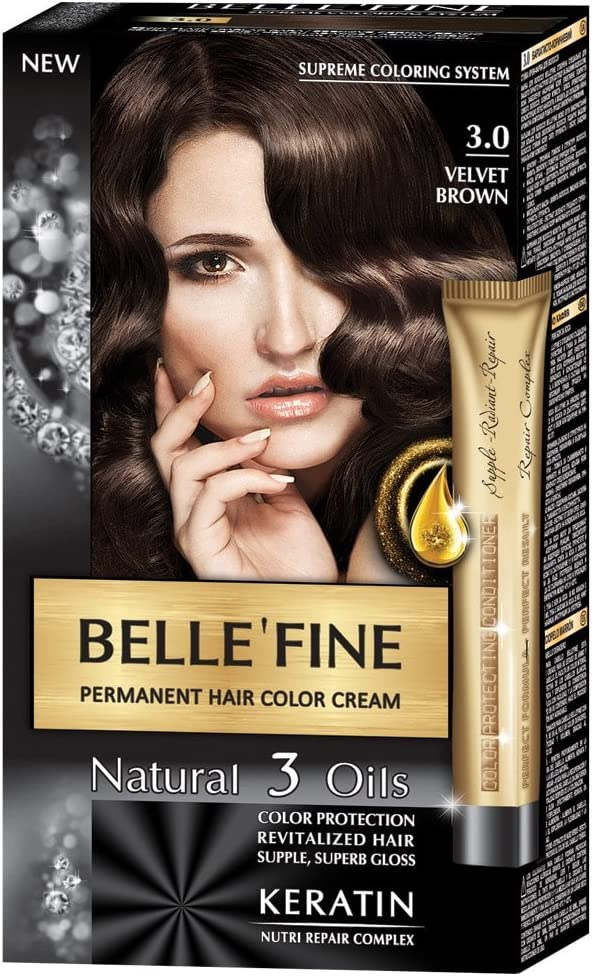 BELLEFINE® - Black Series - Tinte permanente natural - Con 3 aceites y queratina - Terciopelo marrón