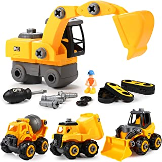 GEYIIE Take Apart Toys, DIY Big Construction Trucks Assembly Toys Toddler Engineering Cars, 4 Pack Building Vehicles Set for Kids 3-14 Years,Excavator,Bulldozer,Dump,Cement