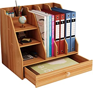 Landmore Wooden Desktop Organizer, Office Supplies Storage with Drawer, Multi-Functional Desktop Organizer, Easy Assembly, for Office, School and Home