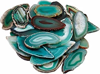rockcloud 5 Pcs Polished Thin Agate Slice Pendants with Drilled Holes for Jewelry, Necklaces and Bracelets,Green