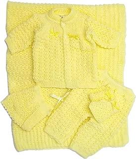 Newborn Crochet Blanket Five Piece Set Sweater, Pants, Hat, Mittens