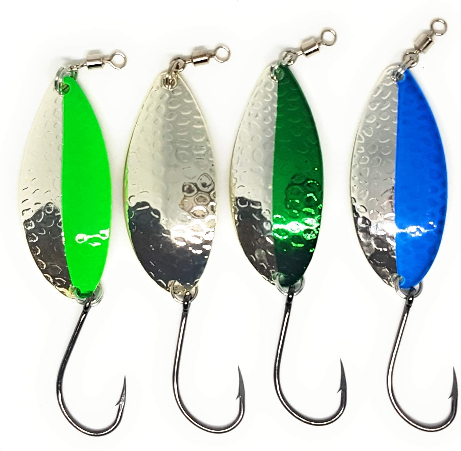 Great Action Slays Salmon Steelhead 5//8oz Two Sizes 2//5oz Trout Bass Prime Lures Casting Fishing Spoons 4 Pack