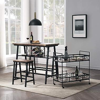 O&K FURNITURE Industrial Bar Serving Cart, Kitchen Storage Cart, 2-Tier Rectangular Rolling Bar Cart for Home Kitchen, Vi