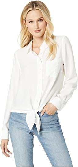 Flowy Rumple Tie-Front Button Down Shirt