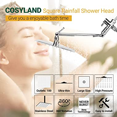 COSYLAND 8'' Rain Shower Head With 11'' Adjustable Extension Arm, Rainfall Showerhead High Pressure Stainless