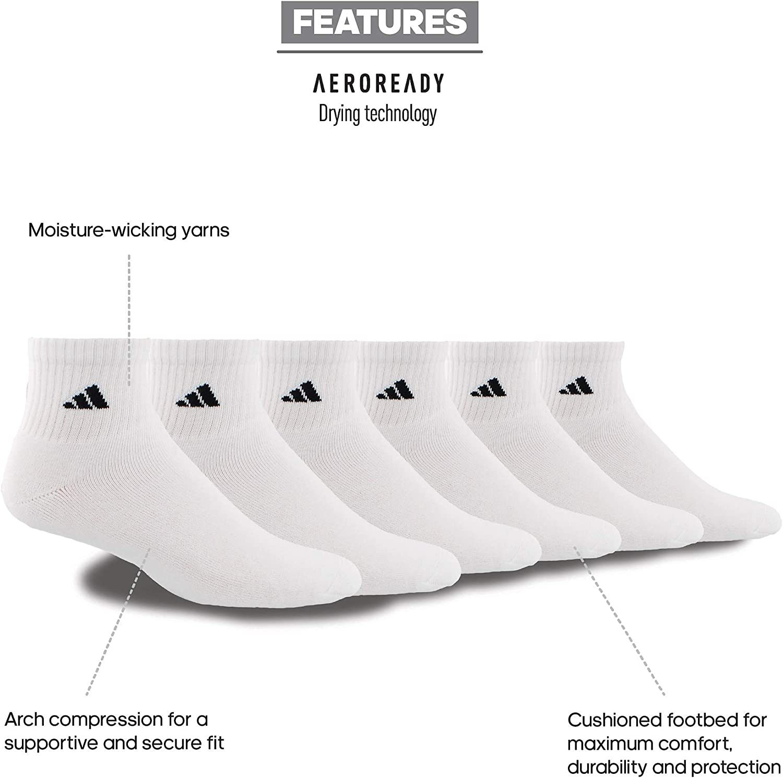 adidas Mens Athletic Cushioned Quarter Sock (6-Pair)