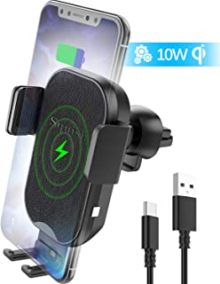 Squish Wireless Car Charger, Qi Wireless Charger Car Phone Mount Auto Clamping for Air Vent, 7.5W Fast Charging for iPhone Xs Max/XS/XR/X/8Plus/8, 10W for Samsung S10/S9/S8/S7 Samsung Note 9/8/7 etc