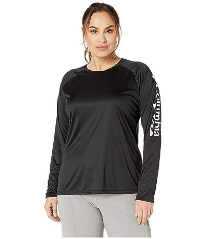 Columbia Plus Size Tidal Teetm II Long Sleeve Shirt (Black/White Logo) Women