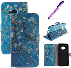 HTC One M9 Case,LEECOCO Fancy Color Print Floral Pattern Wallet Case with Card / Cash Slots [Kickstand] Shockproof PU Leather Folio Flip Slim Protective Case Cover for HTC One M9 Apricot Tree TX