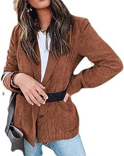 Macondoo Womens Corduroy Autumn Notched Lapel Long Sleeve Coat Blazer Jacket