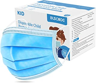 BLScode Disposable Kids Face Protective Masks, 3-Layer Facial Cover Masks with Elastic Ear Loops, Comfortable Universal De...