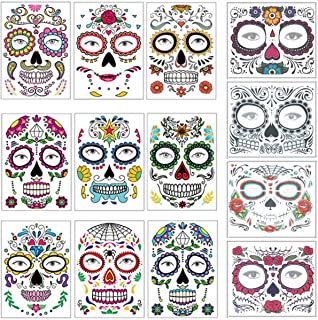 COKOHAPPY Halloween Temporary Face Tattoos Makeup Kit (13 Pack), Day of the Dead Sugar Skull Floral Black Skeleton Web Red Roses Full Face Mask Stickers Tattoo Families Party Supplies