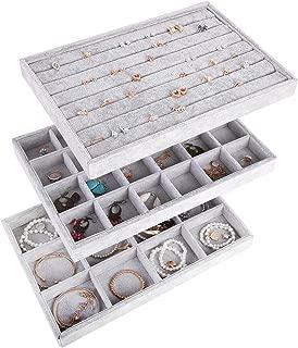 AUTOARK Ice Velvet Stackable Jewelry Tray Showcase Display Organizer,Set of 3,AJ-076