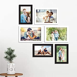 Art Street Synthetic Wood Wall Photo Frame with Free Hanging Accessories for Home Decor (Black and White, 4x6, 5x7 inches)...