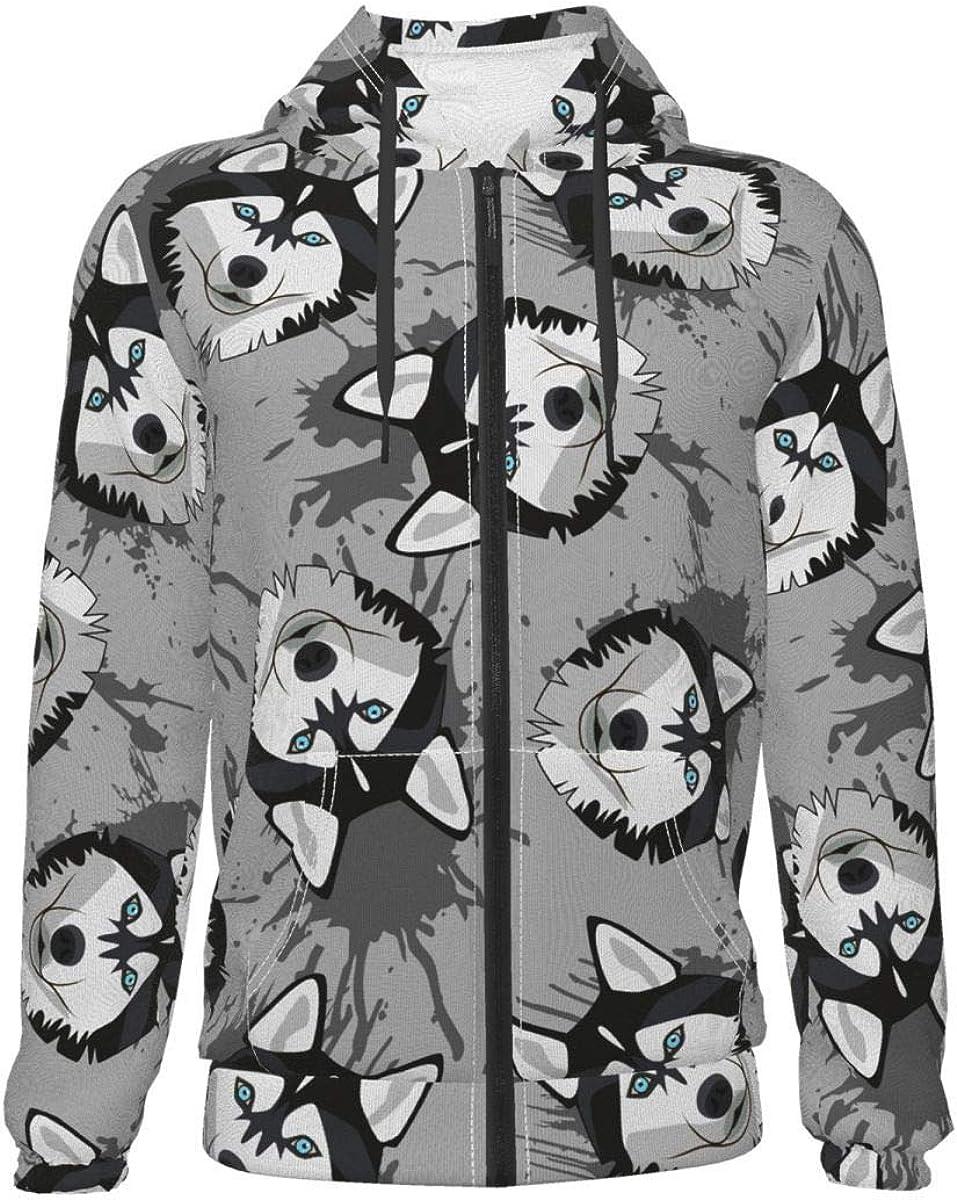 Siberian Husky Kids & Youth Full-Zip Fleece Hoodie Boys Print Hooded Sweatshirt Jacket Pockets
