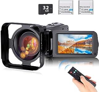 ビデオカメラ Anteam デジタルビデオカメラ HD1080P 16倍デジタルズーム ウェブカメラ機能 32GBカード付き(最大128GB) レンズフード付き 予備バッテリーあり リモコン付属 日本語システム 日本語取扱説明書き