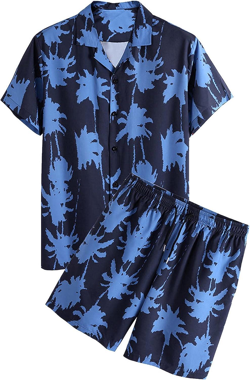 Men's Sets T Shirt Sweatpants Track Suit Summer Beach Shorts Jogger Sets Palm Casual Short Sleeve Shorts Set