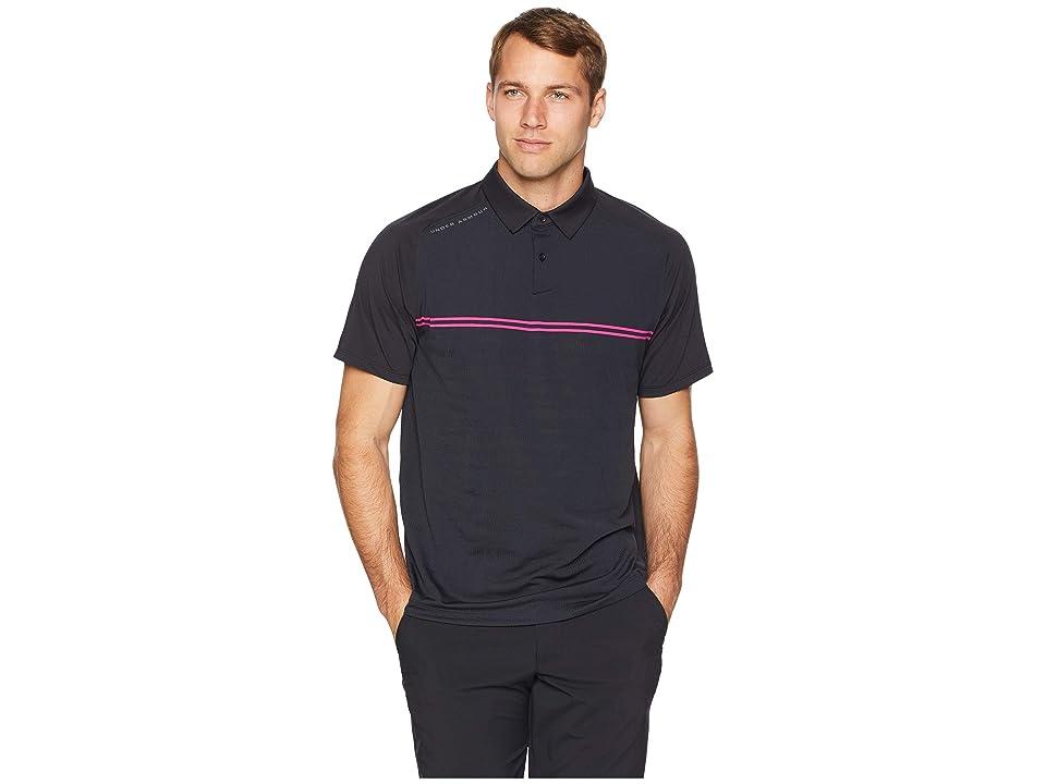 Under Armour Golf Threadborne Calibrate Polo (Black/Tropic Pink) Men