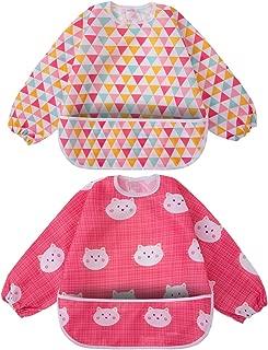 Long Sleeved Bib Waterproof Feeding Bibs Apron with Built-in Pocket Bag, Art Smock for Babies/Toddlers/Infants, Pack of 2 Colors (Red)