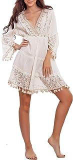 Toocool - Vestito Donna Etnico Boho Chic Copricostume Pizzo Spiaggia IND-7572 [Taglia Unica,Beige]