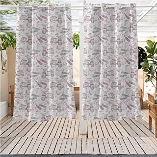 DONEECKL Motorcycle Extra Wide Outdoor Curtain Grungy Abstract Pattern with Rainbow Colored Scooters Shoes Glasses Birds Stars Gazebo W63 x L63 inch Multicolor
