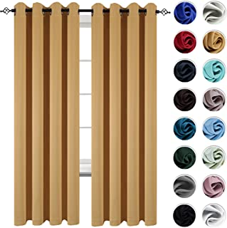 KEQIAOSUOCAI 95 Inch Yellow Blackout Curtains Grommet Top Drapes for Bedroom Light Reducing Window Curtain Panels for Living Room 2 Panels 52W x 95L