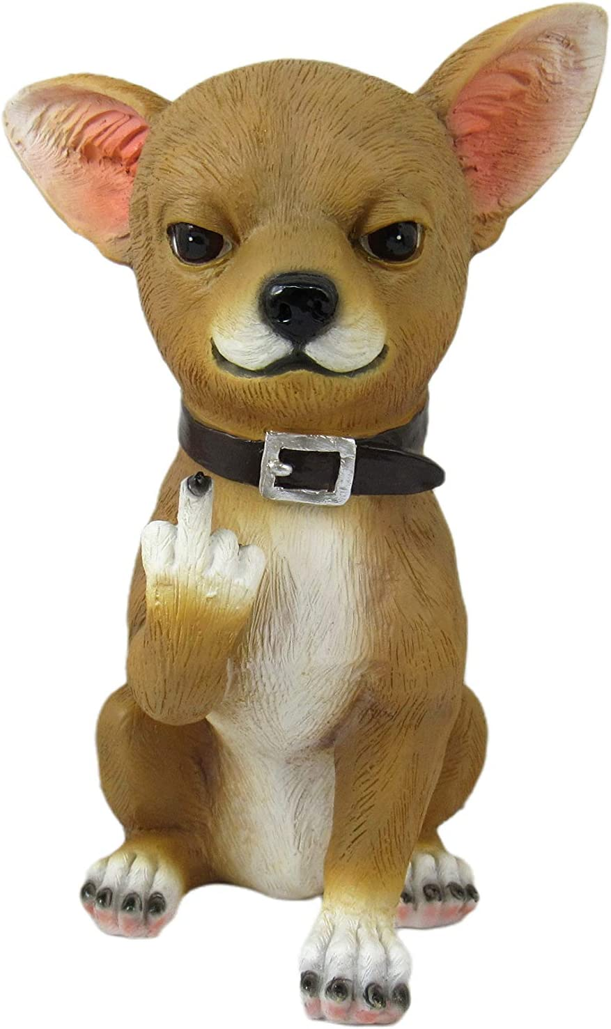 DWK Lil' Rascal Middle Finger Chihuahua Dog Statue | Décor for Home or Office Desk | Gifts for Chihuahua Lovers | Front Porch Greeting Statue - 6.75