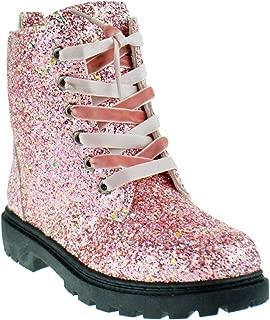 Chunko Little Girls Velvet Lace Military Glitter Combat Boots