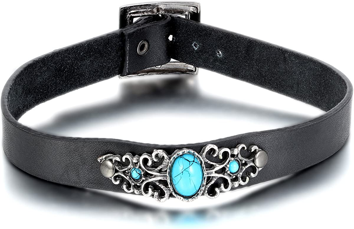 Oidea Christmas Necklace Gifts Womens Antique Adjustable Buckle Leather Choker Collar Necklace,Imitation Turquoise Charm Collar,with Gift Bag